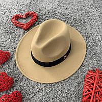 Шляпа Федора унисекс с устойчивыми полями в стиле Maison Michel бежевая, фото 1