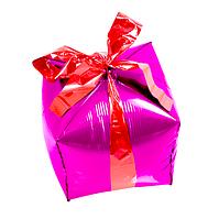"""Фольгированный шар куб Подарок. Цвет: Розовый. Размер:24"""" (29см*26см)..Пр-во:Китай."""