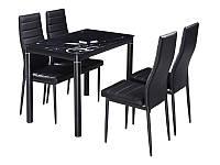 Стеклянный кухонный стол с рисунком Damar 80x60x75см на металллических ножках черный Signal Польша