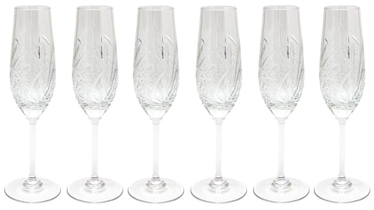 Набор из 6 хрустальных бокалов для шампанского, 22,5 см (8560/2)