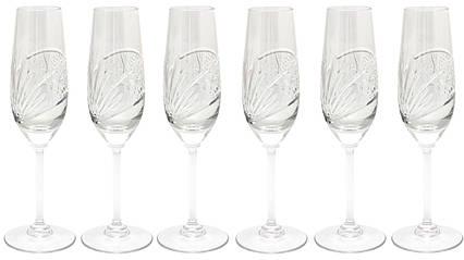 Набор из 6 хрустальных бокалов для шампанского, 23 см, арт. 8560/1