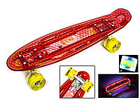 """Penny Board """"Led"""". Червоний колір. Дека і колеса світяться!"""