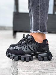 Женские кроссовки Prada Black (черные)