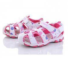 Бело-розовые детские спортивные босоножки
