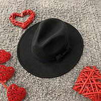 Шляпа Федора унисекс с устойчивыми полями и бантиком черная, фото 1
