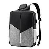"""Рюкзак противоударный для ноутбука 15,6"""" с usb, черный с серым ( код: IBN008BS ), фото 2"""