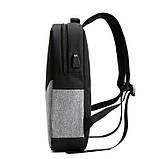 """Рюкзак противоударный для ноутбука 15,6"""" с usb, черный с серым ( код: IBN008BS ), фото 3"""
