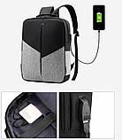 """Рюкзак противоударный для ноутбука 15,6"""" с usb, черный с серым ( код: IBN008BS ), фото 6"""