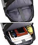 """Рюкзак противоударный для ноутбука 15,6"""" с usb, черный с серым ( код: IBN008BS ), фото 7"""