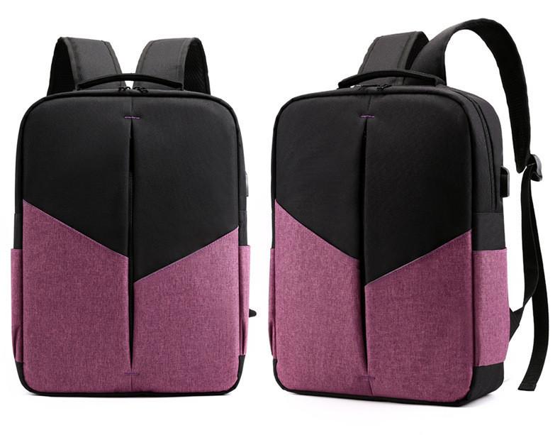 """Рюкзак противоударный для ноутбука 15,6"""" с usb, черный с розовым ( код: IBN008BP )"""