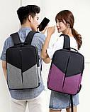 """Рюкзак противоударный для ноутбука 15,6"""" с usb, черный с розовым ( код: IBN008BP ), фото 7"""