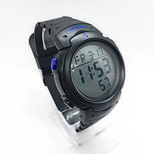 Часы мужские спортивные водостойкие SKMEI 1068 (Скмей), черные с синим ( код: IBW274BZ )