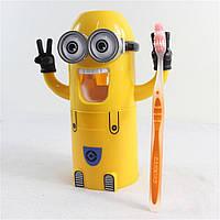 Дозатор зубной пасты Миньон желтый плюс держатель для зубных щеток dj-3, КОД: 1160025