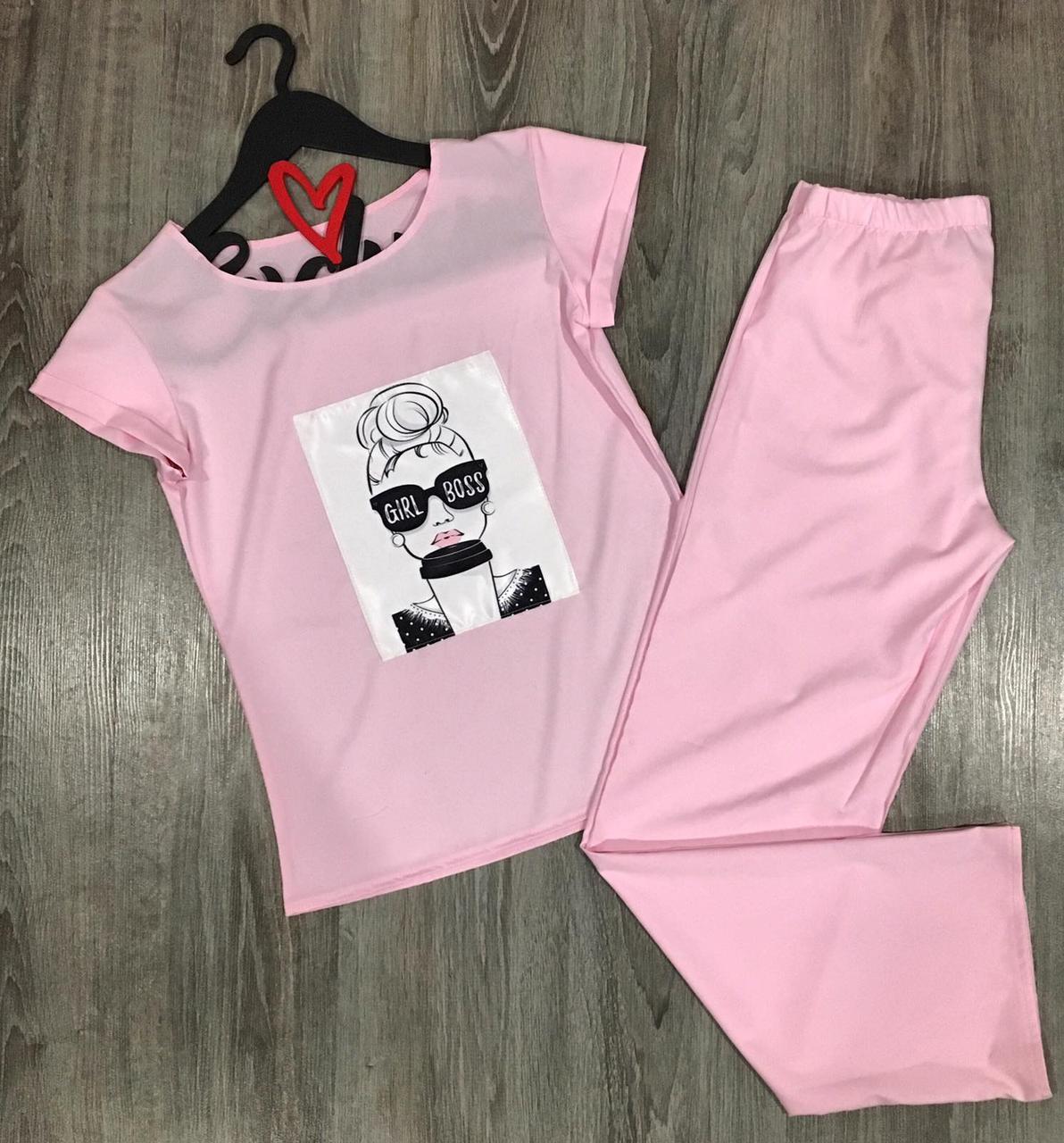 Молодежный комплект штаны и футболка для дома  608 Пинк Fashion .