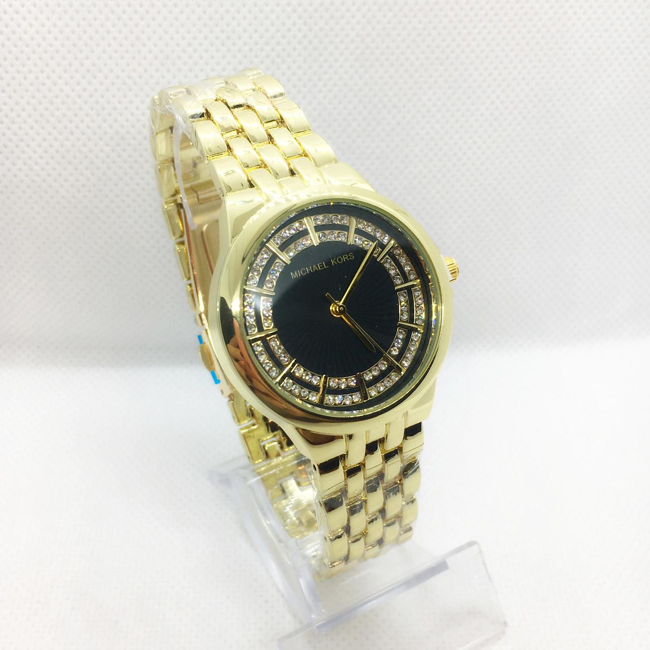 Часы женские наручные в стиле Mісhаеl Коrs (Майкл Корс), золото с черным циферблатом ( код: IBW309YB )
