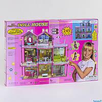 Домик для кукол для девочек модель 6992, трёхэтажный, свет, мебель, высота 109 см, в коробке 245 деталей.