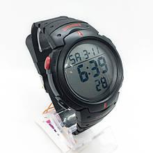 Часы мужские спортивные водостойкие SKMEI 1068 (Скмей), черные с красным ( код: IBW274BR )