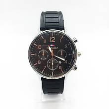 Часы мужские наручные Тоmmy Нilfigеr (Томми Хилфигер) на силиконовом ремешке, цвет серебро, чёрный циферблат ( код: IBW298SB )