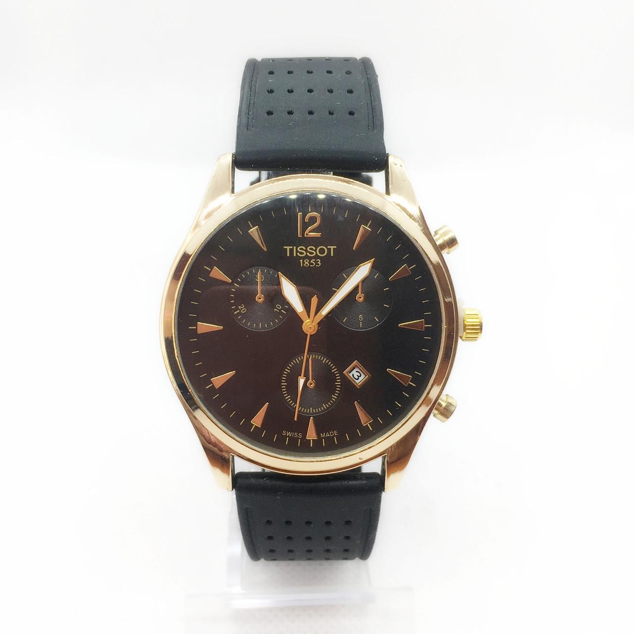 Часы мужские наручные Tiссot, на силиконовом ремешке, цвет золото ( код: IBW301YB )