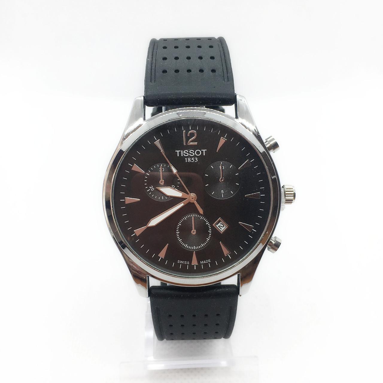 Часы мужские наручные Tiссot, на силиконовом ремешке, цвет серебро ( код: IBW301SB )