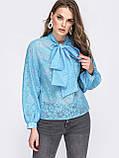 Блузка свободного кроя с воротником аскот и длинным широким  рукавом  на манжете, фото 4