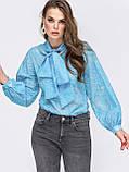 Блузка свободного кроя с воротником аскот и длинным широким  рукавом  на манжете, фото 5