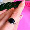 Кольцо из серебра с черным фианитом - Серебряное кольцо с черным камнем, фото 4