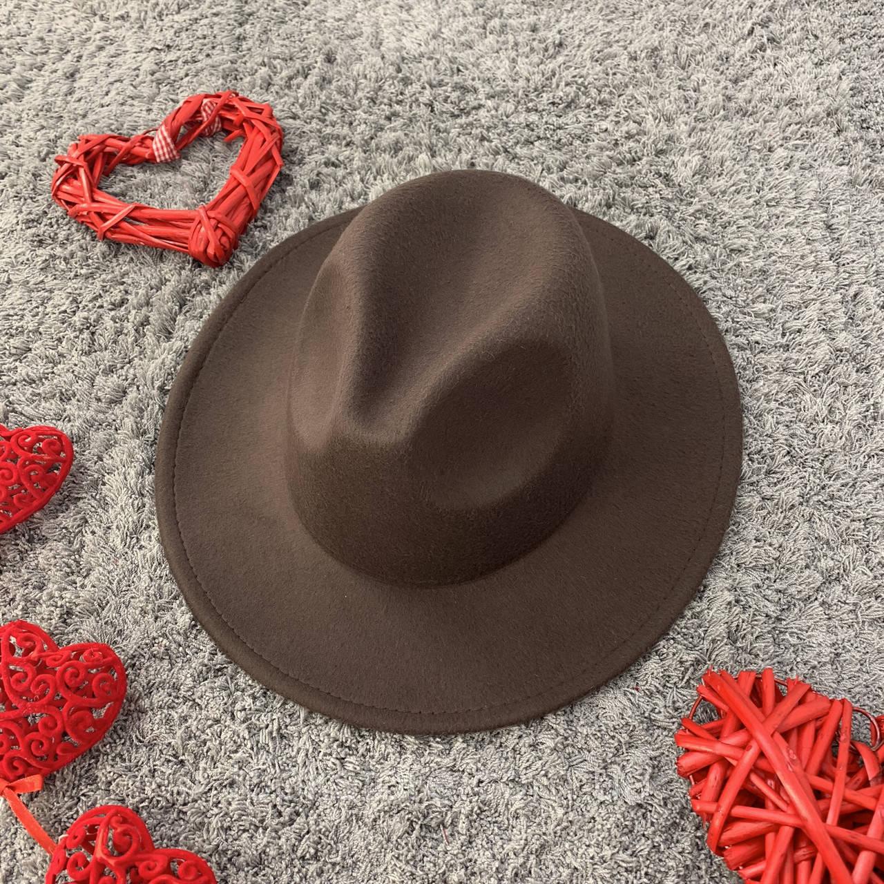Шляпа Федора унисекс с устойчивыми полями коричневая
