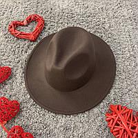 Шляпа Федора унисекс с устойчивыми полями коричневая, фото 1