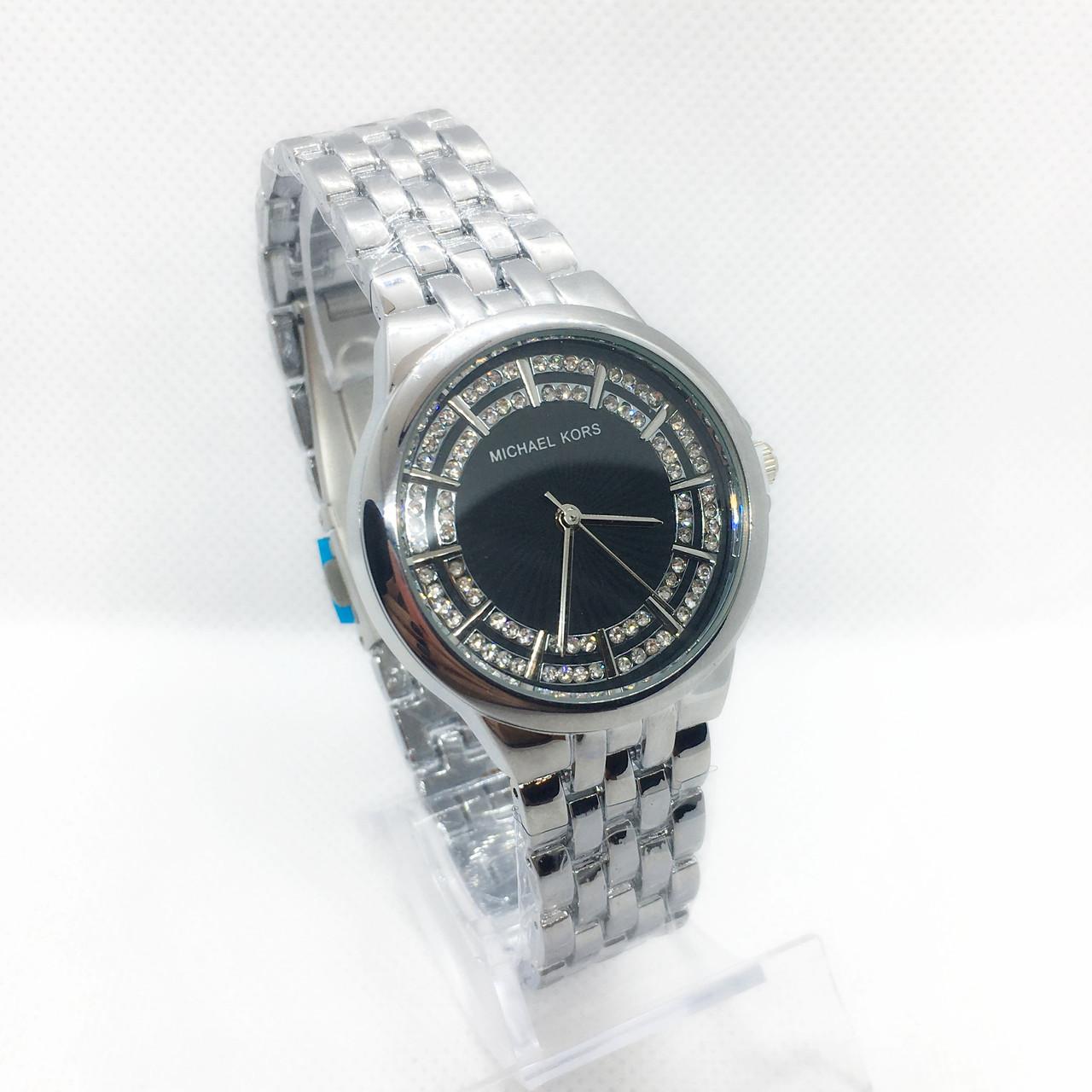Часы женские наручные в стиле Mісhаеl Коrs (Майкл Корс), серебро с черным циферблатом ( код: IBW309SB )