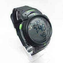 Часы мужские спортивные водостойкие SKMEI 1068 (Скмей), черные с зеленым ( код: IBW274BG )