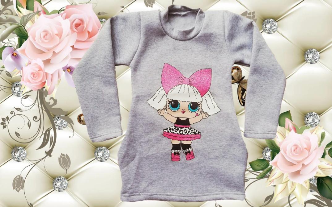 Детская туника платье LOL с боковыми карманами из тринити
