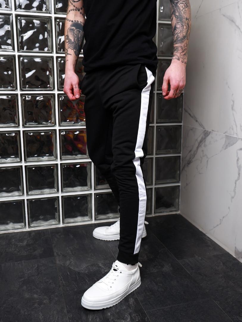 Мужские спортивные штаны с лампасами. Штаны чёрные трикотажные. Мужские спортивные брюки ТОП качества!!!