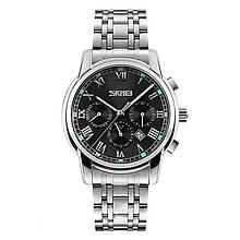 Часы мужские металлические Skmei 9121 (Скмеи), цвет серебро с черным циферблатом ( код: IBW293SB )