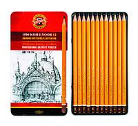 Набір графітних олівців. Koh-i-Noor Art 8B-2H в метал.боксі. 12шт.