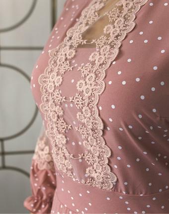 Романтичное платье батал с кружевом на лифе и на рукавах Размеры: 58-60, 62-64, фото 2