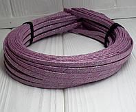 (50шт) Обруч  обмотанный люрексовой лентой  (5мм металлический).Цена за 50 шт. Цвет - пудровый