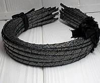 (50шт) Обруч  обмотанный люрексовой лентой  (5мм металлический).Цена за 50 шт. Цвет - графит