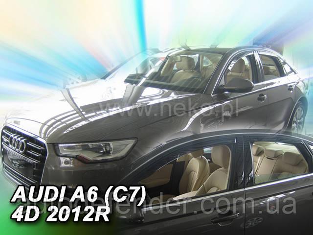 Дефлекторы окон (вставные!) ветровики Audi A6 2011-2018 (C7) 2шт., HEKO, 10244