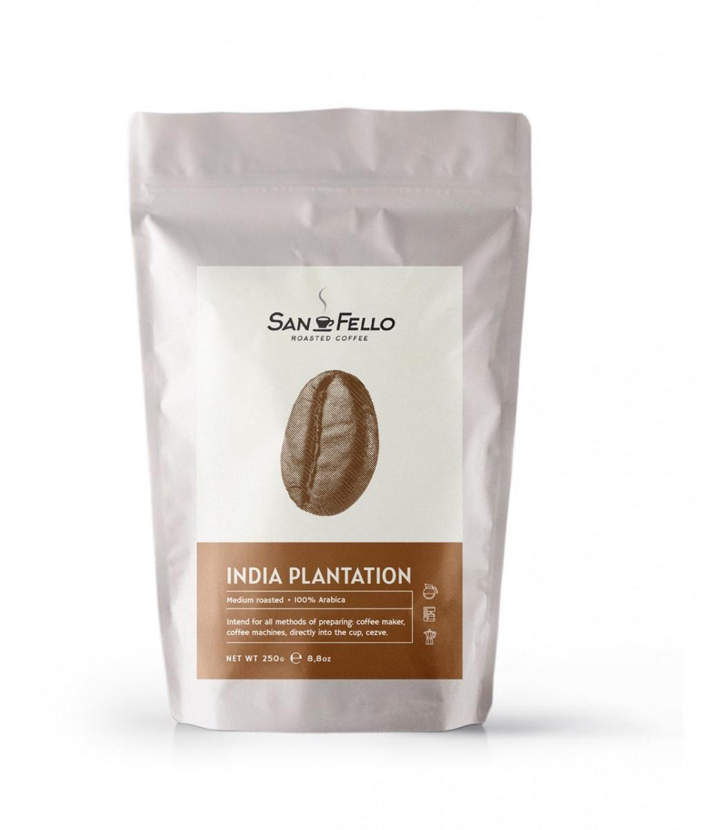 Арабика 100% Кофе в зернах свежая обжарка India Plantation 250 грамм