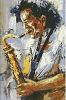 Алмазная живопись Мелодия саксофона, размер 30*40 см, забивка полная, стразы квадратные