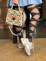 Бежевая сумка T5301 маленькая кросс-боди через плечо под питона, фото 1