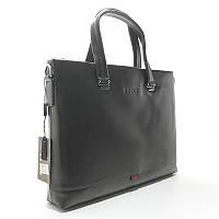 Шкіряна чоловіча сумка портфель Gucci 18-1137-1 чорна для ноутбука, фото 1