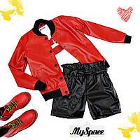 Куртка красная детская эко кожа на девочку подростка рост 134-176