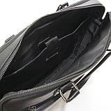 Чоловіча шкіряна сумка-портфель Armani 6619-3 чорна для ноутбука документів, фото 6