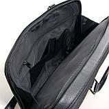 Чоловіча шкіряна сумка-портфель Armani 6619-3 чорна для ноутбука документів, фото 3