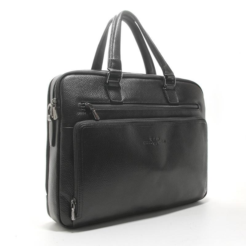 Чоловіча шкіряна сумка-портфель Armani 6619-3 чорна для ноутбука документів