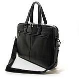 Чоловіча шкіряна сумка-портфель Armani 6619-3 чорна для ноутбука документів, фото 4