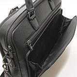 Чоловіча шкіряна сумка-портфель Armani 6619-3 чорна для ноутбука документів, фото 8