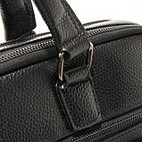 Чоловіча шкіряна сумка-портфель Armani 6619-3 чорна для ноутбука документів, фото 5